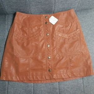 NWT Free People sz 8 Bronze Suede mini skirt